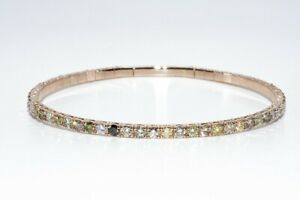 $9,700 4.30CT NATURAL FANCY MULTI-COLOR DIAMOND TENNIS BANGLE BRACELET 14K GOLD