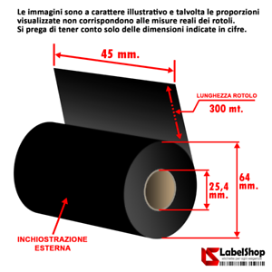 Ribbon-indelebile-tessile-H-45-mm-x-300-m-ink-out-Nastro-carbongrafico-a-bas
