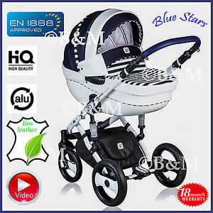 Dp Blue Stars Travel System 3in1 Pram Pushchair Car Seat Buggy
