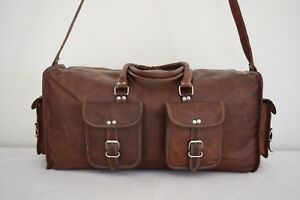 23-034-Leather-Duffle-Hold-All-Bag-Weekend-Travel-Luggage-Handbag-Sports-Gym-Bag