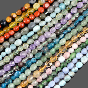 4-8mm-Natural-Gemstone-Freeform-Potato-Pebble-Chips-Loose-Beads-15-5-Larimar