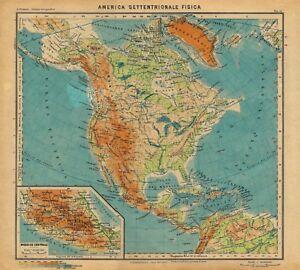 Cartina Geografica America Del Nord Fisica.Carta Geografica Antica America Settentrionale Fisica Paravia 1941 Antique Map Ebay