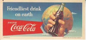 1956  COCA-COLA  BLOTTER  HAND HOLDING  BOTTLE   NOS MINT  # 2