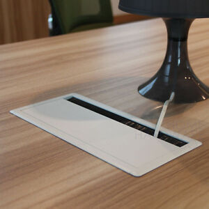 image is loading desk wire grommet rectangle whie aluminum table top cover desk