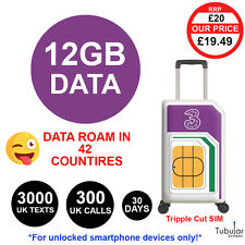 Three UK Pay As You Go SIM £20 Credit 300 Mins 3000 Texts 12GB Data 42 Countries