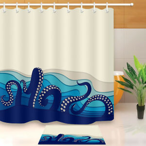 Underwater Octopus Tentacles FABRIC SHOWER CURTAIN Set Hooks 71X71
