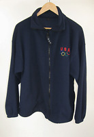 Us Olympic Committee Warm Up Blue Jacket Color Olympic Emblem Large Made In Usa