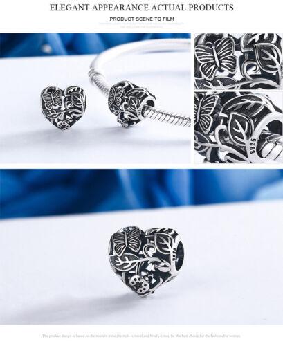 Authentique Argent Sterling 925 Papillon Jardin Charme pour friedn /& Fille Cadeau Amour