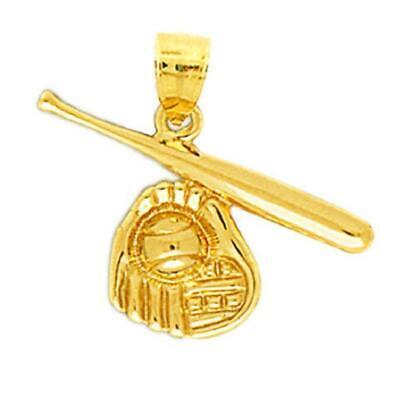 14K Yellow Gold Polished Double Baseball Bats /& Ball Sports Charm Pendant