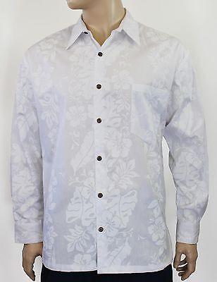 Men/'s White Hawaiian Wedding Shirt Long Sleeve 100/% Cotton S-2XL Honolulu Print