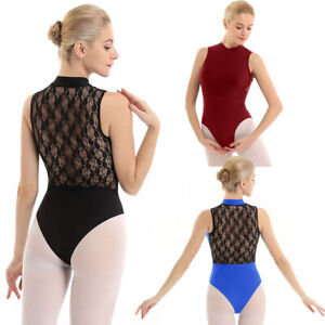 New-Women-Gymnastics-Ballet-Dance-Bodysuit-Lace-Splice-Leotard-Tops-Skate-Dress