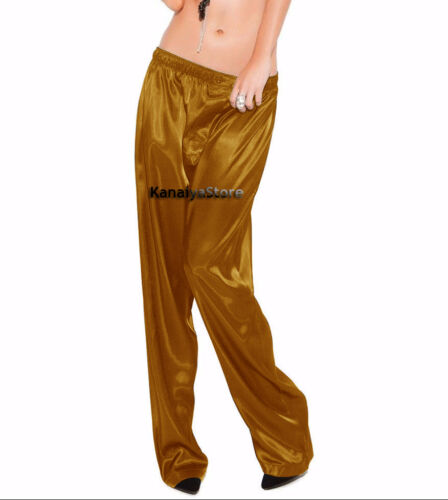 Golden Color Satin Unisex Lounge Sleep Pajama Pants Adult Women Sissy Maid NEW