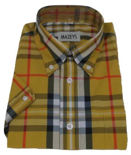 Mazeys Mens Mustard Yellow Checked 100/% Cotton Short Sleeved Shirts