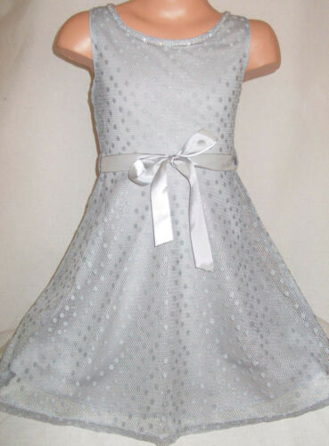 GIRLS 50s VINTAGE STYLE SILVER GREY SHIMMERY LACE DIAMONTE TRIM PROM PARTY DRESS