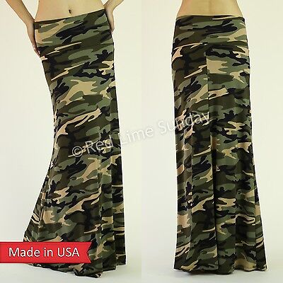 Women Camo Green Camouflage Army Print FoldOver Waist Flared Long Maxi Skirt USA