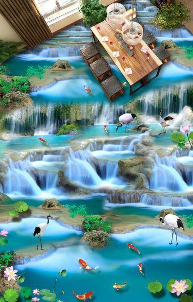 3D lago Grün pesce Pavimento Foto Wallpaper Murales Muro Stampa Decalcomania