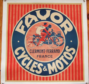 Original-1930-039-s-French-Favor-Motorcycle-Poster-Linen-Mount-w-Easy-Hang-Grommets