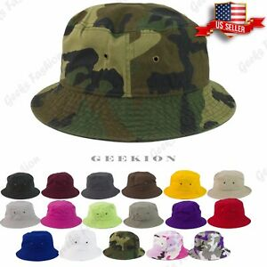 873cc5587a9 Bucket Hat Cap Cotton Fishing Boonie Brim Sun Safari Military Summer ...