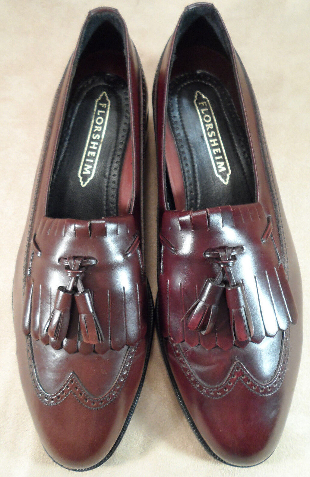 Florsheim Burgundy Cordovan Tassel Kilt Loafers shoes -- Sz 7.5 D -- EUC