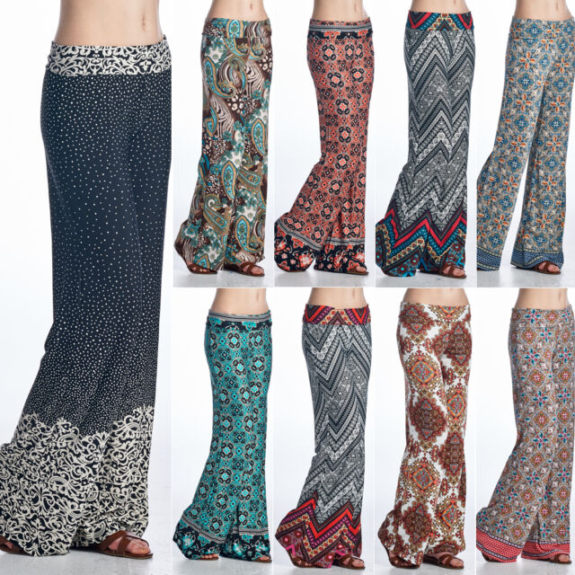 Wide Leg Long Bohemian Loose Palazzo Casual Stretch Pants Yoga Foldover Band