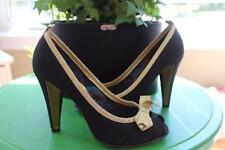 MARC JACOBS SILK BLACK WITH GOLD TRIM PUMP PEEP TOES  SHOE SIZE 7 (TACO500)
