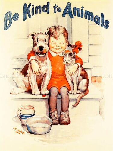 PROPAGANDA ANIMAL WELFARE CHARITY KID CAT DOG KIND ART POSTER PRINT LV6953
