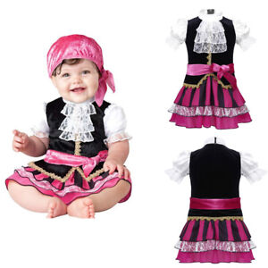 Baby-Girls-Pirate-Halloween-Cosplay-Costume-Party-Dress-Headscarf-2PCS-Outfit