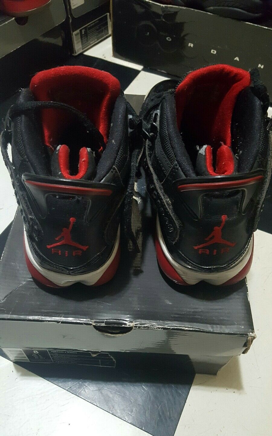 ba3de8ee73a NIKE AIR JORDAN 6 RINGS black varsity red-white 322992-071 sz 8 2008 ...