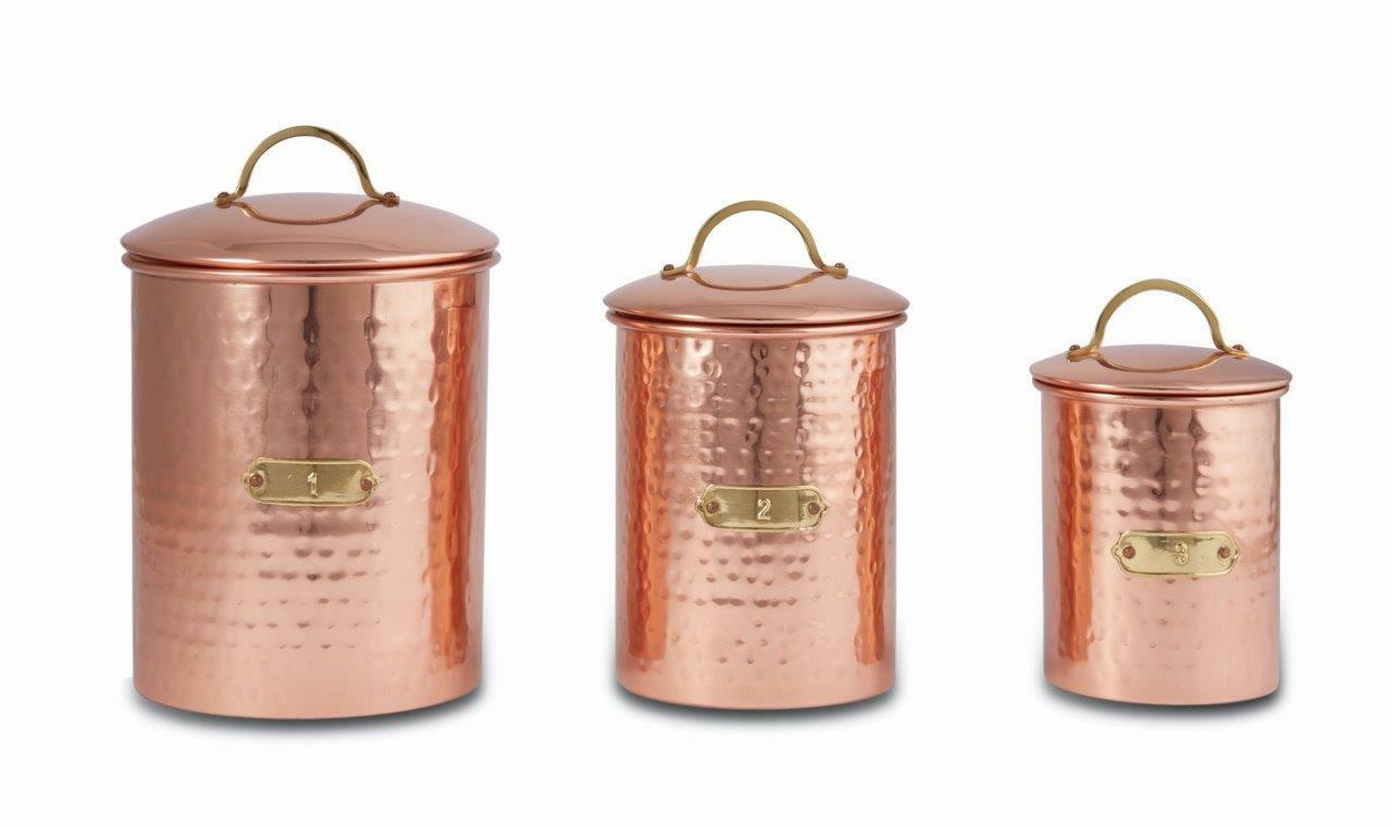 Mud pie Home hammerouge copper kitchen canister set de 3