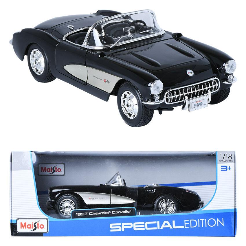 Maisto 1 18 1957 Chevrolet Corvette negro coche en miniatura de pantalla
