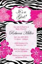 Zebra Pink Flower Elegant classy Baby Shower Birthday Invitation U print