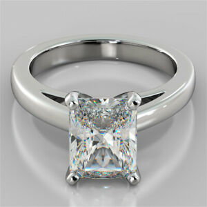 2.00 Ct Emerald Cut Moissanite Anniversary Ring 18K Real White Gold ring Size 8
