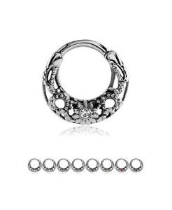 316L Surgical Steel Septum Clicker Nose Ring Hoop Cartilage CZ 7mm 16G