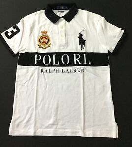 6297aec70073c Ralph Lauren Men s POLORL Shirt Number 3 Custom Slim Fit White Size ...