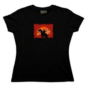 Sunset Horseback Riding Women/'s T-Shirt Horses Pony Cowboy Wild West Shirt