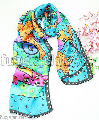 "New Fashion 100% Silk Scarf & Dalmatians / Dog Design 50"" X 10"""