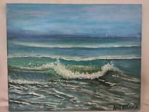 Original-Acrylic-Painting-8-x10-Stretched-Canvas-Beach-Coastal-Ocean-Art-Decor
