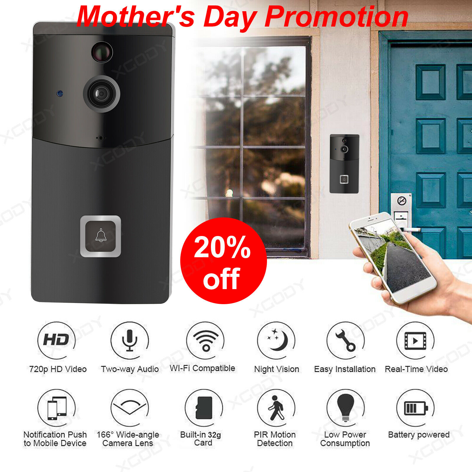 Wireless Smart WiFi DoorBell Video Phone Visual Ring Intercom Secure Camera USA