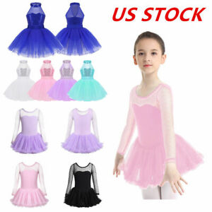 US-Girls-Ballet-Halter-Dress-Kid-Gymnastics-Tutu-Skirt-Skating-Dancewear-Costume