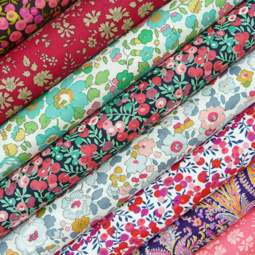 quilting dressmaking floral Liberty ~ Betsy R Teal Green Tana Lawn Fabric