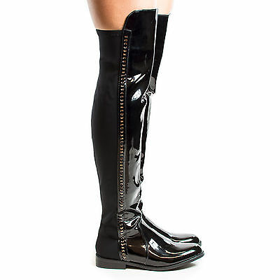 Kabul1 Round Toe Thigh High Gold Chain Riding Boots
