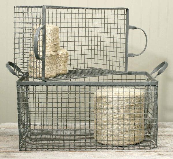 Country primitive farmhouse   Cottage Set De 2 De Alambre Caja de almacenamiento de cesta-Galvanizado