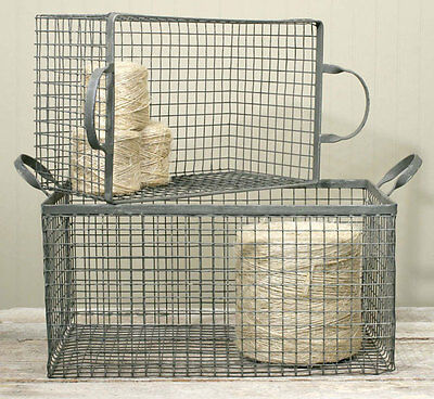 Country/Primitive/Farmhouse/Cottage Set of 2 Wire Storage Box Basket- Galvanized