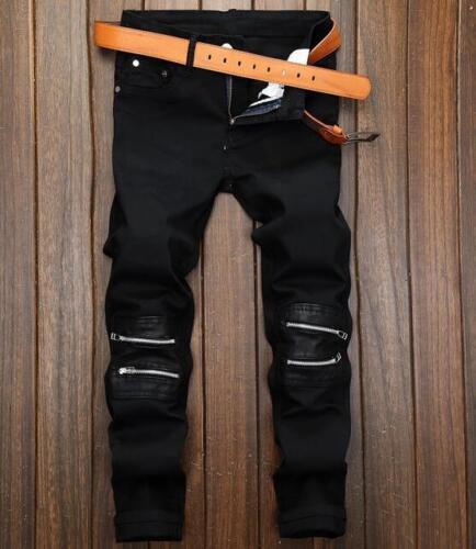 2018 spring Mens black denim pants trousers Slim knee zipper denim pants jeans