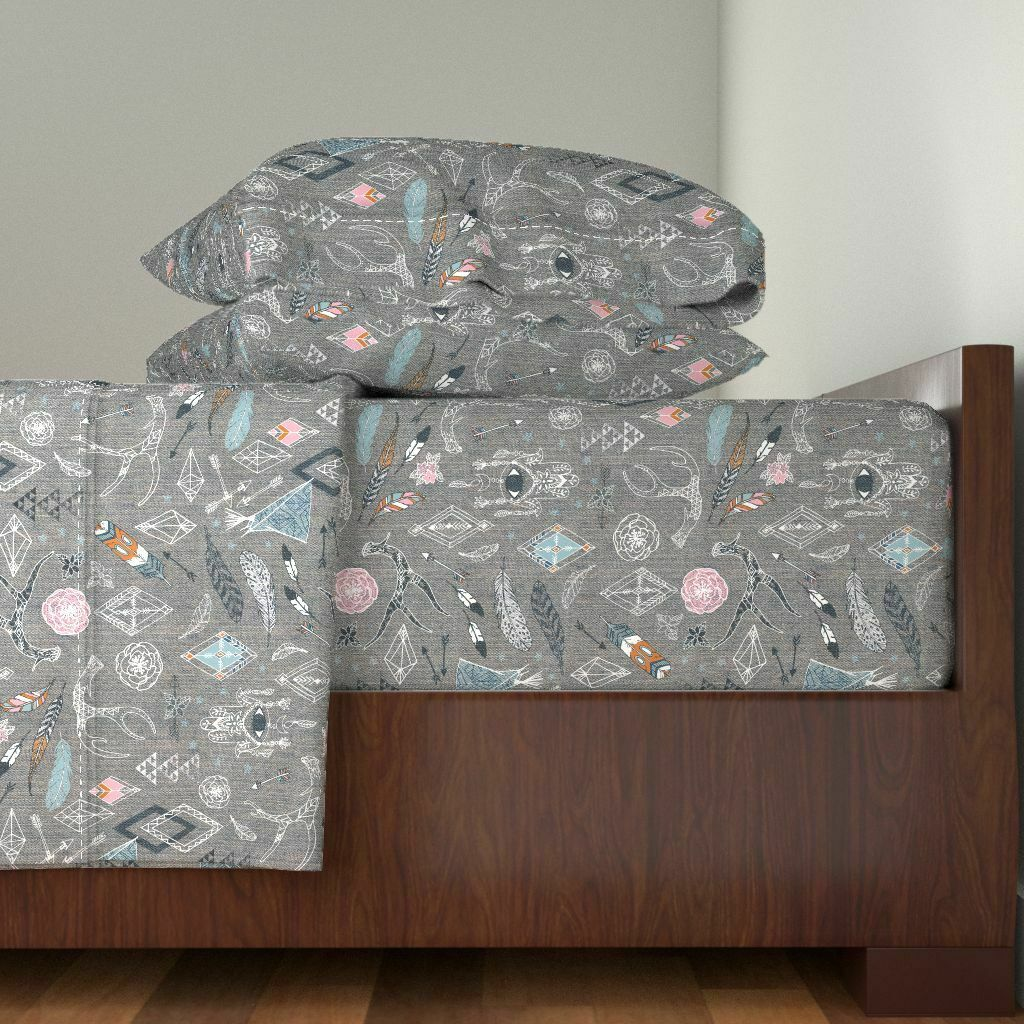 Boho Gypsy Floral Mid Century Modern 100% Cotton Sateen Sheet Set by Roostery