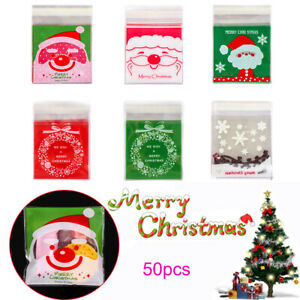 50pcs-Christmas-Santa-Claus-Snowman-Self-adhesive-Plastic-Candy-Cookie-Gift-Bags
