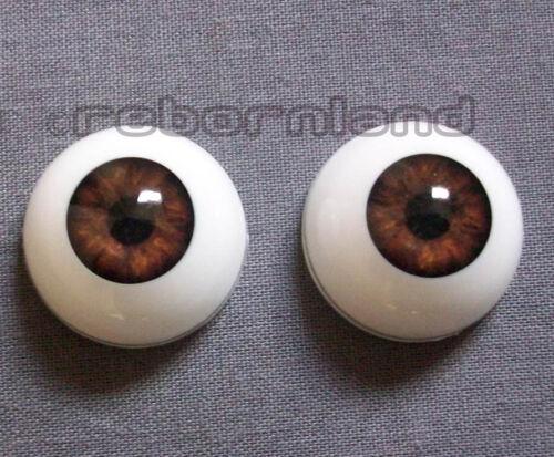 22MM Semicircolare reborn doll OTTICA OCCHI Acrilico-Marrone scuro 16MM 20MM 18MM