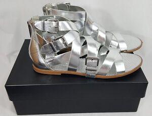 BCBGeneration Sylvia Metallic Silver Strappy Gladiator Sandals Womens size 8M