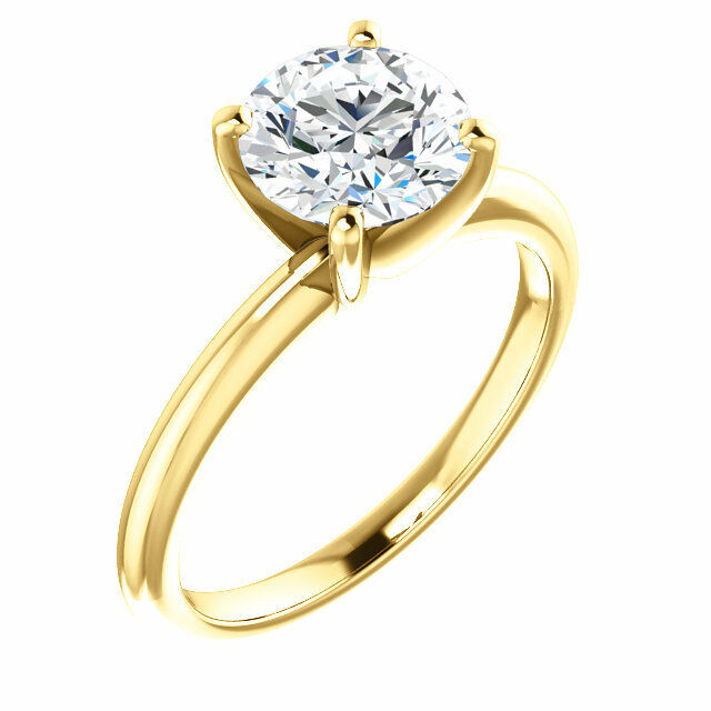 1 Ct Forever One GHI  Moissanite Round Solitaire Engagement  Ring 14k Yellow