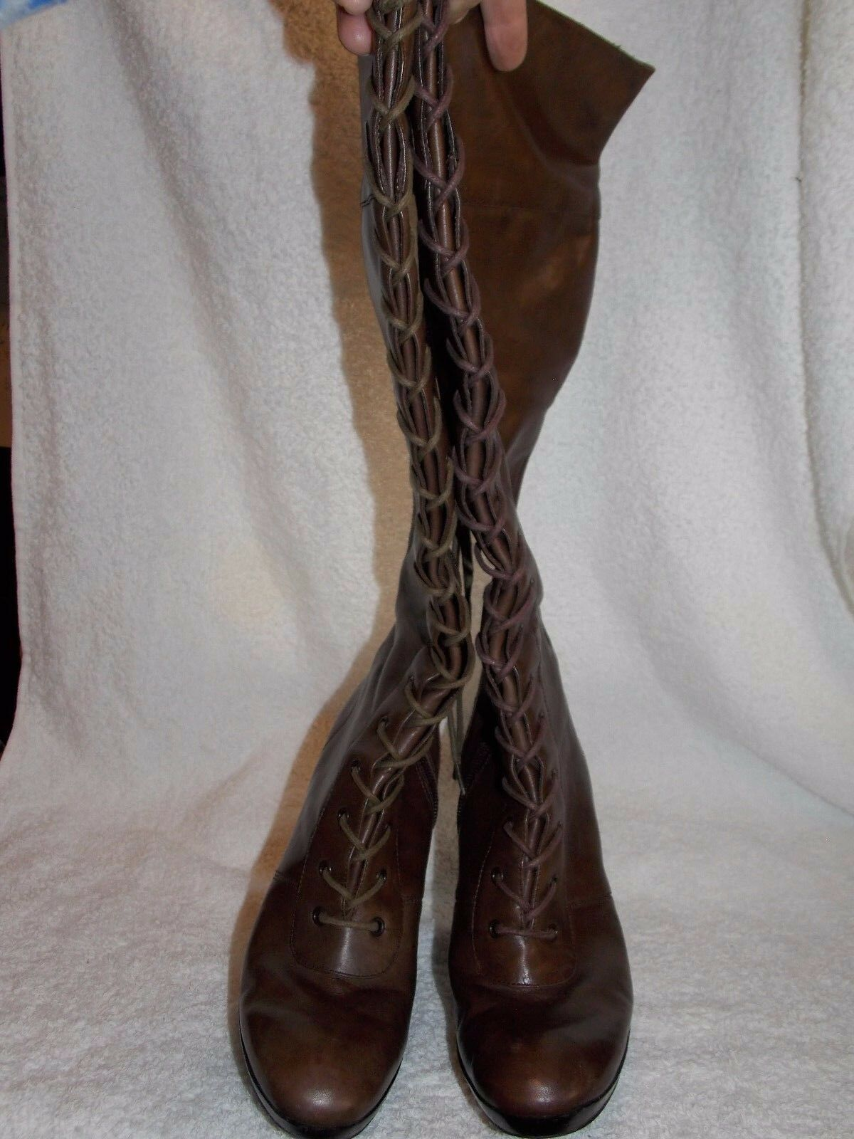 Nine West West West Brown Leather Lace Zipper Knee High Boots 6.5M Used de348b